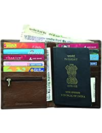 Style98 Brown Premium Quality Pure Leather Men's Travel Wallet|| Zipper Passport Pouch||Passport Wallet||Passport...