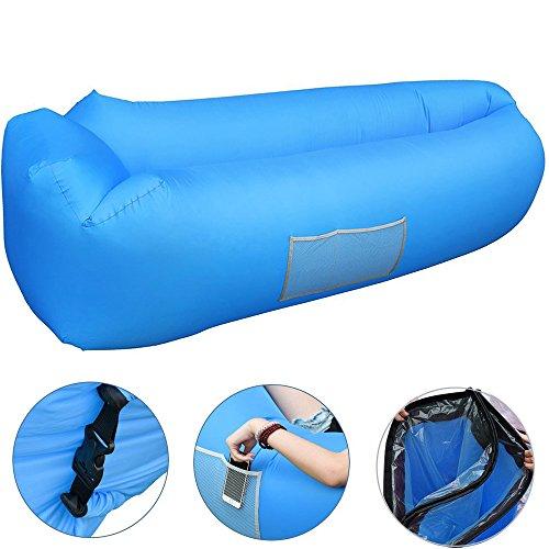 Acoocki Hochwertige Premium Wasserdichtes Aufblasbares Luftsofa, Air Lounger mit Tragebeutel, zum Schlafen im Freien, im Innenbereich, zum Zurücklehnen und Entspannen, Aufblasbarer Sitzsack (Blau)