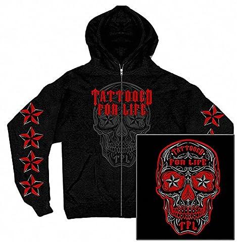 Biker Hoodie (M) Sugar Skull Dia de Muerto Tattoo Nautik Star Schwarz (Harley Davidson Chaps)