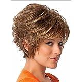 B-G corto rizado mullido pelo pelucas peluca peluca de aspecto Natural resistente al calor peluca con libre uw012
