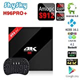 H96 PRO+ Android 6.0 3GB/32GB TV Box, ShySky Amlogic S912 64bit Octa Core 4K Kodi 16.1 Preinstalled Full Loaded Double WiFi 2.4G/5.8G Bluetooth 4.1 1000M Ethernet Streaming Media Player (H96 PRO+ 3GB/32GB + I8 Tastiera senza fili Nero) immagine