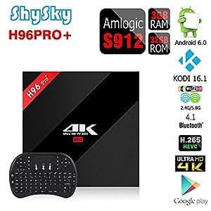 H96 PRO+ Android 6.0 3GB/32GB TV Box, ShySky Amlogic S912 64bit Octa Core 4K Kodi 16.1 Preinstalled Full Loaded Double WiFi 2.4G/5.8G Bluetooth 4.1 1000M Ethernet Streaming Media Player (H96 PRO+ 3GB/32GB + I8 Tastiera senza fili Nero)