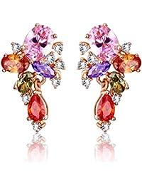 Yellow Chimes Swiss AAA Zircons Bouquet 18K Rose Gold Plated Earrings for Women