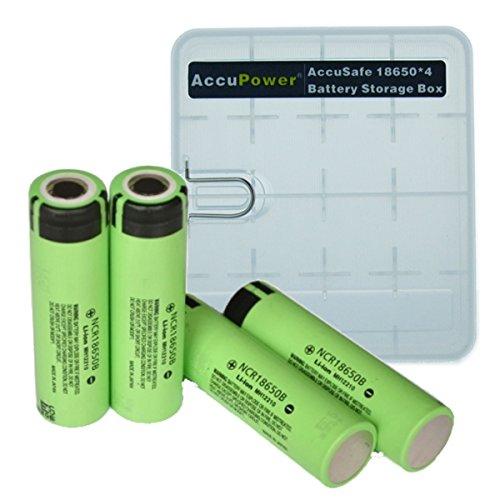 Foto de Panasonic NCR18650B - Set de 4 baterías, color verde