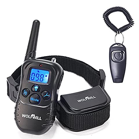 WOLFWILL Remote Pet Dog Training Collar,300 Yards Rechargeable & Waterproof with Beep / Vibration Collar With LCD Backlit Display for Safe and Cruelty-free for Training Your Dog
