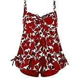 Yvelands Damen Tankini Sets Plus Size Schwimmen Split Badeanzug Bademode Push Up Beach Bikini Sets(CN-2XL,rot)
