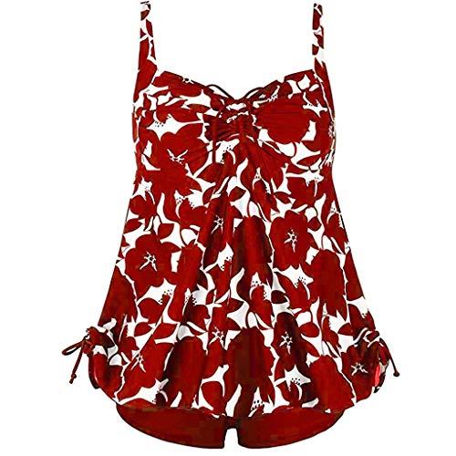 TOPKEAL Damen Badeanzug Bauchweg One Piece Strandkleidung Bandeau Strandmode Blumen Druck Bikinihose Swimsuit Figurformend(XX-Large,Rot) - 60er-jahre-one Piece