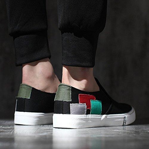 HUAN Chaussures de toile Chaussures de toile pour hommes Chaussures décontractées Chaussures de pont Chaussures de course légères Black