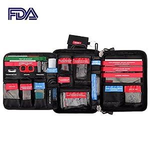 Trousse de premiers soins Molle sac étanche portable poche de stockage médical inclus couverture d'urgence, pansements, CPR Set pour la randonnée en plein air véhicule voyage Sports