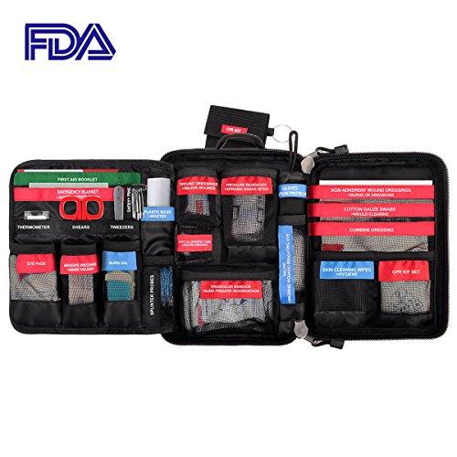 Kit de primeros auxilios impermeable, Bolsa de emergencia médica portátil Incluida Manta de emergencia, vendajes, CPR para casa, oficina, copche, viaje, al aire libre (96 Piezas--Rojo)