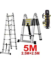 EQUAL Portable and Extension 16.5 ft Double Telescopic Folding Aluminium Ladder w/Tools Bag Organiser; for Household and Outdoor; 2.5+2.5 m; Anodized Silver