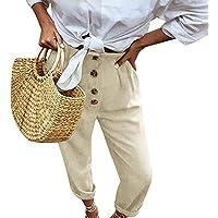 OPAKY Mujeres Retro Cintura Alta Botón de Color Puro Cintura elástica Pantalones Largos Ocasionales