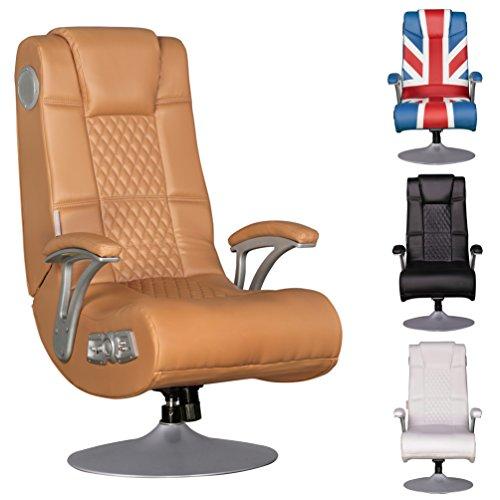 Gaming Chair Rocker (FineBuy Soundchair SPENCER Gaming Chair Caramel Multimediasessel Musik Rocker mit eingebautem Soundsystem Sessel mit Lautsprecher & Subwoofer Music mit Armlehnen und Standfuß)
