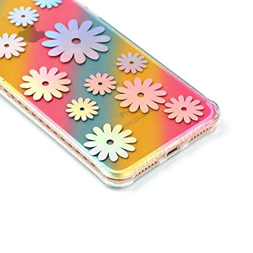 """Protecteur étui pour Apple iPhone 7Plus 5.5""""(NON iPhone 7 4.7""""), CLTPY Mode Beau Arc en Ciel Plating Impression Peint Motif Case en Souple Caoutchouc Ultra Fine Slim Transparente Bumper Shell pour iPh Chrysanthème"""