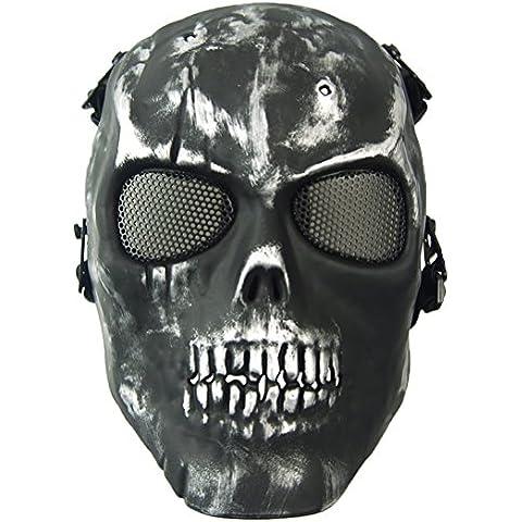 wwman Airsoft cara completa calavera máscara táctico juego de guerra CS Protective Gear equipo, plata