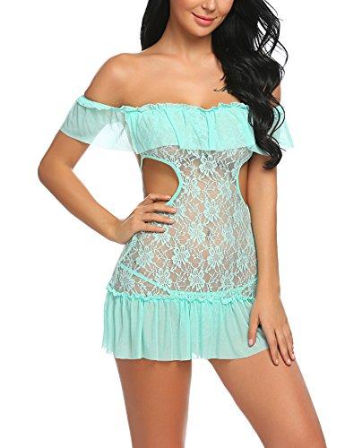 Untlet Damen Babydoll Off Shoulder Dessous Set Nachtkleid Rüsche Spitze Kittel Chemises Mesh Transparentes Kleid mit G-String Kittel-set