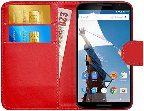 G-Shield Hülle für Google Nexus 6 Klapphülle mit Kartenfach - Rot