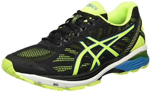 Asics Gt-1000 5, Scarpe Running Uomo, Nero (Black/Safety Yellow/Blue Jewel), 42.5 EU