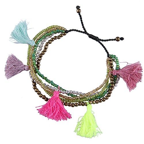 KELITCH Armband Multi-Kreis Strand Urlaub Seil Rocailles Perlen verschiedenfarbig Quaste Anhänger Freundschaftsarmbänder - #09 Grün -