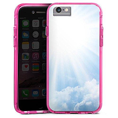 Apple iPhone 8 Bumper Hülle Bumper Case Glitzer Hülle Wolken Sonnenstrahlen Himmel Bumper Case transparent pink