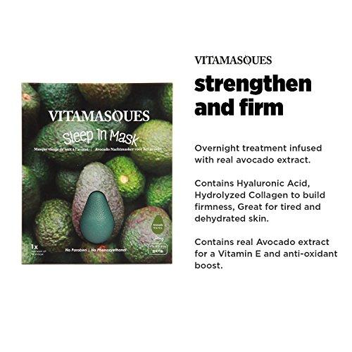 Vitamasques - Sleep In - 3D Range Luxus Koreanische Advanced Skin Care Technologie, Premium Gesichtsmasken (Avocado)