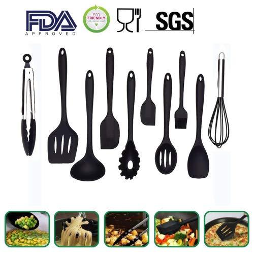 10PCS Silikon Utensilien Set, hitzebeständig, Antihaft, Sicherheit Gesundheit, Silikon Backform Werkzeug Sets Schwarz Spoonula Set