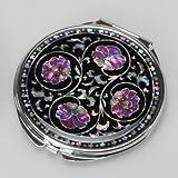 Nacre Violet Fleur Art Déco Noir Rond Double Compact Sac à Main Maquillage Cosmétique Miroir de Poche à la Main avec Motif Arabesque