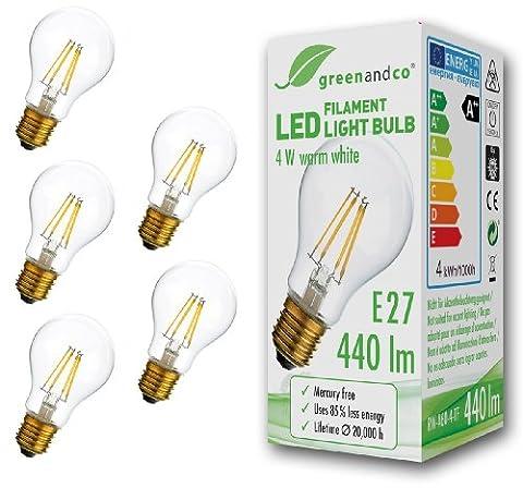 5x greenandco® Glühfaden LED Lampe ersetzt 40 Watt E27 Birne, 4W 440 Lumen 2700K warmweiß Filament Fadenlampe 360° 230V AC nur Glas, nicht dimmbar, 2 Jahre Garantie