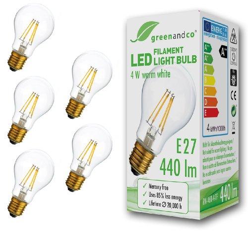 Greenandco Glühfaden LED Lampe ersetzt 40 W E27 Birne, 4 W, 440 lm, 2700 K, warmweiß 5x RW-A60-4-TF, 5 Stück
