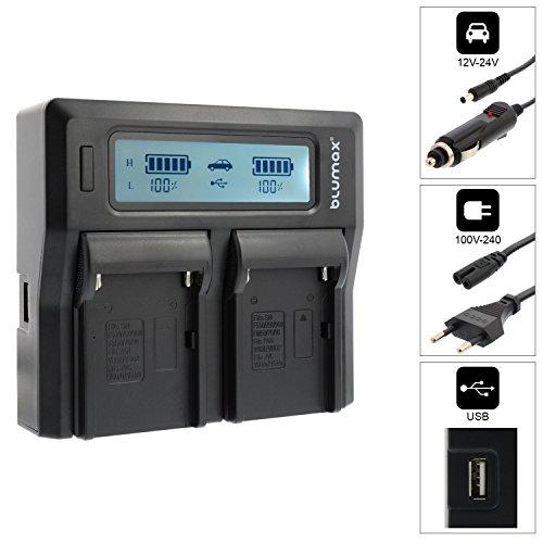 Blumax Doppelladegerät für Sony NP-F970 NP-F960 NP-F990 NP-F550 NP-F750 NP-FM50 NP-FM500H NP-FM500 NP-QM51 QM71 Akku Dual Charger für 2 Akkus gleichzeitig laden schnelles Ladegerät doppel Np-fm50-lithium-batterie