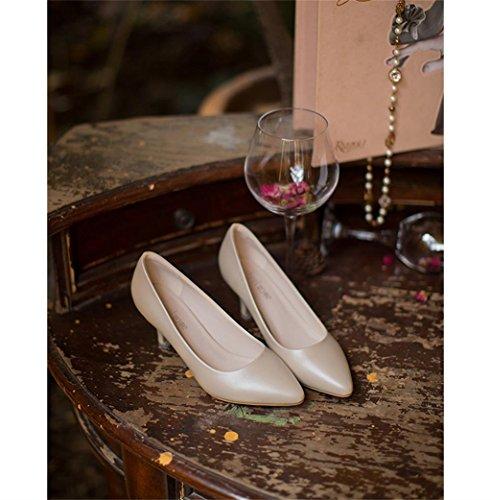 ALUK- Printemps - fines avec des chaussures de bouche superficielle avec des chaussures à talons hauts à talons hauts ( couleur : Beige , taille : 38 ) Beige
