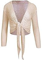Women's Ladies Long Sleeve Tie Knot Crochet Shrug Crop Top