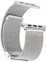 Apple Watch Band,e821 Prima Durable correa de muñeca de la banda magnética de la correa de metal venda de muñeca a prueba de golpes del reloj correas para Apple Watch (38mm, Plata)