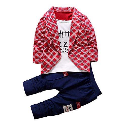 feiXIANG 2 stücke Kleinkind Baby Jungen Kleidung Set Tops Lange Hosen Fake Zwei Stücke Tops Hosenanzug Outfits Kinder Kostüm (Rot,90) (4 Stück Karo Kostüm)