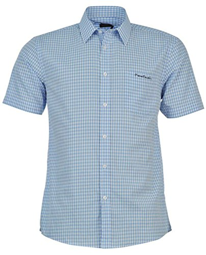 mens-short-sleeve-shirt-check-stripe-plain-x-large-blue-check