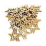 FNT 50 Pieces Unfinished Hollow Star Shaped Wooden Embellishments Decoration 30mm