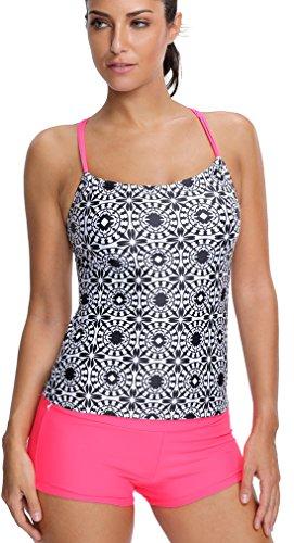 EmilyLe Damen Tribal Print Tankini mit Shorts Sport Yoga Fitness 3-Teilig Bikini Set Rot