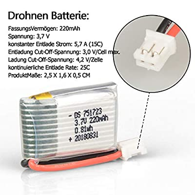 HYF STONE Lipo Battery 3.7V 220mAh 25C with 5in1 Battery Charger for Holy Stone HS210 Eachine E010 JJRC H36 GoolRC T36 ATOYX AT-66 NIHUI NH010 F36 Quadcopter Drone (5PCS)