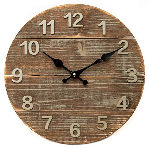 XXL Holzuhr 30x30 cm, Vintage Wanduhr, Küchenuhr mit großem Ziffernblatt, Quartz Uhr im Retro Design, analoge Uhr