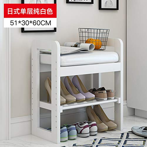 seeksungm Chair, Classical Solid Wood Multifunctional Shoe Bench, Wooden Environmentally Friendly and easy to clean Storage Shoe Chair, Home Shoe rack Sofa Stool, d 50 cm Pure White