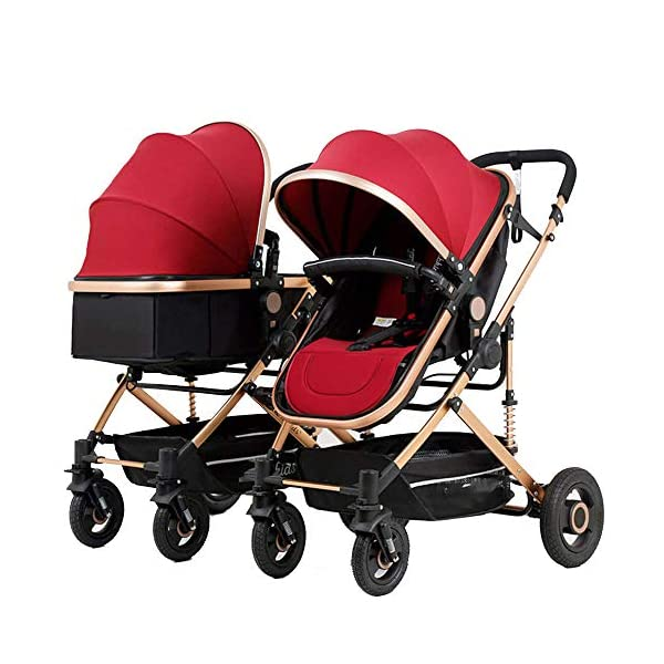 MYRCLMY Baby Strollers Double Pushchair Twins And Tandem Pushchairs, Reversible Seat Convertible To Carrycot, Lightweight With Convertible Bassinet Stroller Extended Canopy/Large Storage Basket,red MYRCLMY *SAFETY - this pushchair comes with 5-point belt, bumper bar, as well as parking brake. *MULTI-FUNCTIONAL - suitable from birth thanks to large, light and soft carrycot convertible to reversible seat unit with 5-point harness; large hood with mesh insert, height-adjustable push handle. *LIGHTWEIGHT - the light aluminium chassis can be folded always compactly for small cars; it is also easy to push thanks to front wheels swivelling at 360 degree and suspension. 1