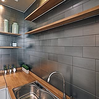 Ver Block Peel and Stick Design Stainless Steel DIY Interior Tile 1PCS 3.9 x 3.9 inch (3.9 x 3.9 inch, Brush Grey)