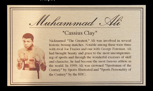 Muhammad Ali Oro Targa Di Metallo Targhetta Per Autografato Guantoni Da Boxe o Boxer - Autografato Metallo