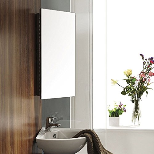 uenjoy stainless steel corner bathroom mirror cabinet modern storage unit amazoncouk kitchen home - Corner Bathroom Mirror Cabinet