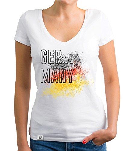 Shirtdepartment Damen T-Shirt V-Neck - WM - Germany Farbkleckse Weiss S