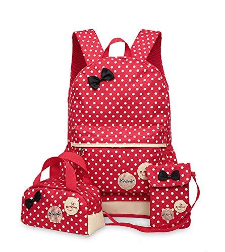 Tibes Art und Weise wasserdichter Mädchens netter Rucksack + Schulterbeutel + Bleistift Geldbeutel 3pcs stellte Kinder Rucksack B rotes