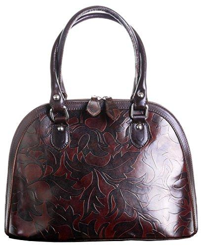 Italienisches Leder braun Blatt Design geprägt Bowling Stil Griff an der Oberseite Hand Tasche Bauchtasche.Umfasst eine Marke schützenden Aufbewahrungstasche (Geprägte Blätter)