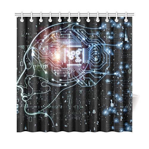 JOCHUAN Home Decor Bath Curtain CPU Mind Series Fondale Design Tessuto in Poliestere Umano Impermeabile Tenda da Doccia per Bagno, 72 X 72 Pollici Tende da Doccia Ganci Inclusi
