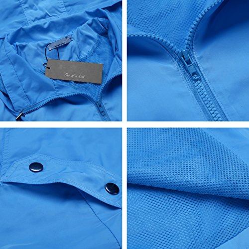 Caeasar Klassische Regenjacke Wasserdicht Winddicht mit KapuzeTasche Funktionsjacke verstellbare Tunnelzug Blau