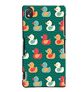 Omnam Colorful Ducks Floating Pattern Printed Designer Back Cover Case For Sony Xperia Z3